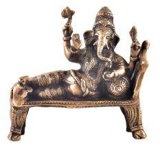 Brass Idol Resting Ganpati Figurine