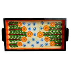 Handcrafted Decorative Platter Contemporary Pattachitra Painting Tray