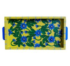 Yellow Color Floral Design Handmade Painting Wooden Tray