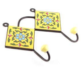 Yellow Ceramic Floral Tiles Hooks Online