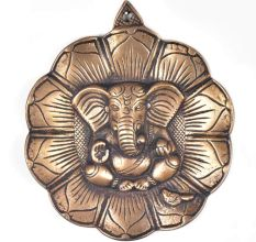 Ganapati  Leaf Figurine Carved Brass Wall Hanging