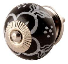 Black Ceramic Floral Drawer Knobs