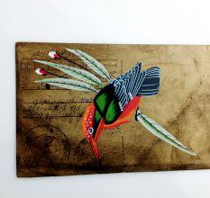 Phad On Postcard (Bird Peach Unframed)