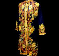 Designer Collection Jackets Sami Pashmina Fabric In Blue & Yellow