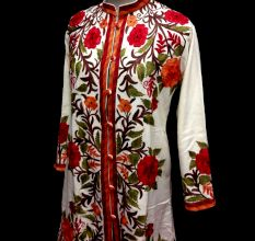 Designer Collection Jackets Sami Pashmina Fabric In White & Red