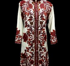 Designer Collection Jackets Sami Pashmina Fabric In Red & White