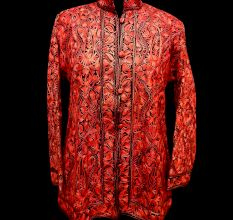 Designer Collection Jackets Short Sami Pashmina Fabric In Red