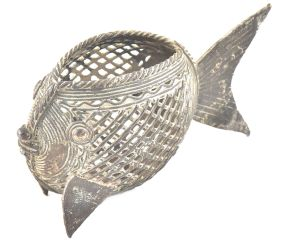 Brass Tribal Fish Pen Stand Napkin Holder