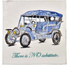 Blue Hand Drawn Vintage Car sketch Ceramic Tile