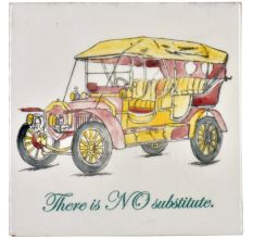 Yellow Hand Drawn Vintage Car sketch Ceramic Tile