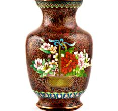 Vintage Rust W Orange Lotus Flower Pink Butterfly Cloisonne Vase