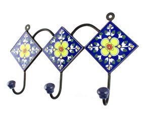 Navy Blie With Yellow Ceramic Floral Tiles Hooks Online