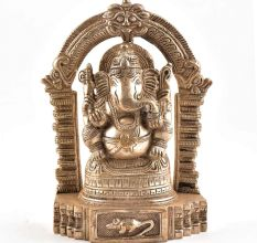 Sitting Lord Ganesh Ji Statue With Temple Arch In Brass