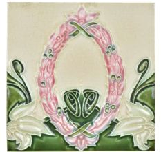 Vintage Ceramic Tile With Flower Wreath Design