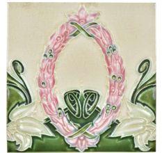 Vintage Ceramic Tile With Flower Wreath Design