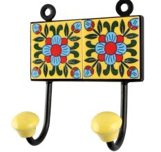 Yellow Floral Ceramic Tile Hook