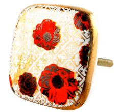 Red Flower Square Ceramic Cabinet Knob Online