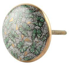 Green Butterfly Swarm Ceramic Cabinet Knob