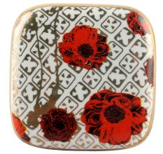 Red Flower Square Ceramic Wine Stopper