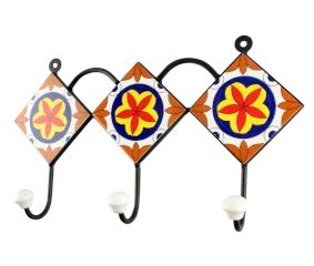 Orange Flower Ceramic Tile Hook Online