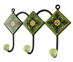 Ceramic Floral Tile Hook in Pea Green