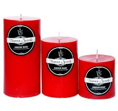 Set Of 3 Amour Rose Solid Pillar Candle