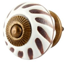 White Etched Ceramic Floral Cabinet Knobs Online