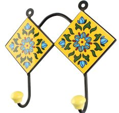 Turquoise Flower Ceramic Tile Hook
