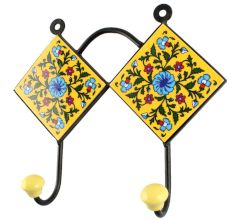 Ceramic Flower Tile Hook in Yellow