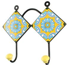 Wheel Flower Ceramic Tile Hook in Turquoise
