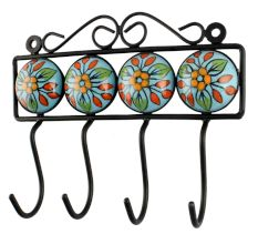 Multicolor Ceramic Flower Tile Hook Online