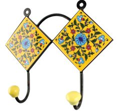 Ceramic Flower Tile Hook in Yellow And Turquoise