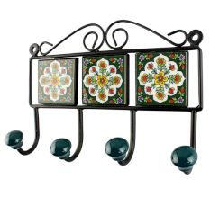 Forest Green with white Ceramic Floral Tile Hook