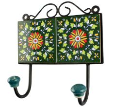 Wheel Flower Ceramic Tile Wall Hook in Forest Green