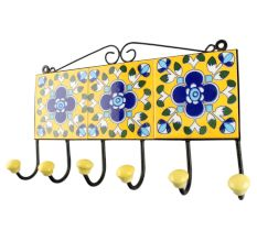 Yellow Ceramic Floral Tile Wall Hook