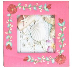 Hand Painted Photo Frame Pink With Floral Design