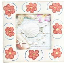 Handpainted Red Flower Border Photo Frame