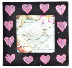 Handpainted Pink Hearts Photo Frame