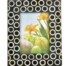 Handmade Black and White Designer Bone Inlay Photo Frame