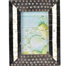 Handmade Black Embellished Metallic flowers Designer Photo Frame