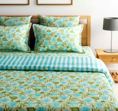 Turu  Cotton Bedding and Quilt Set of 5:Sea Breeze (1 Quilt+2 Pillow Covers+2 Cushion Covers)