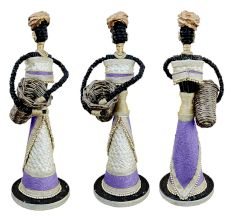 African Doll Showpiece In Purple With Holding Basket With Two Hands