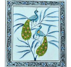 Handmade Miniature Painting Of Peacock On Silk Cloth