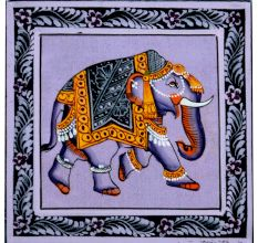 Handmade Card -Miniature painting of Elephant on silk cloth