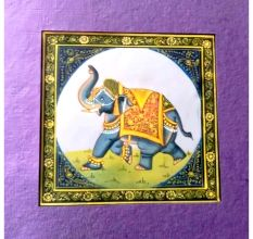 Handmade Miniature painting of Elephant on silk cloth