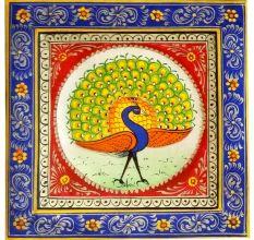 Handmade Miniature painting of Dancing Peacock Combo