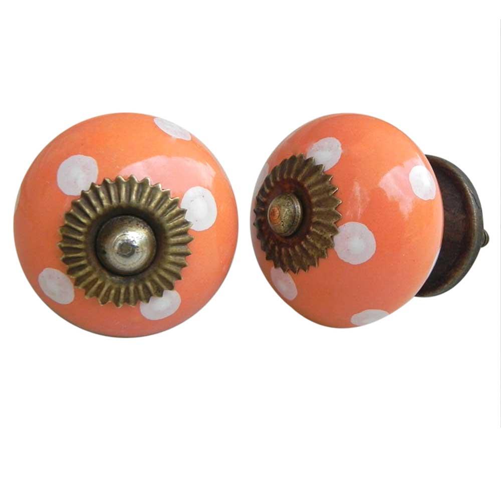 Peach White Dotted Knob