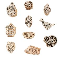 Set of 10 Piece New Wooden Printing Block