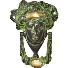 Handcrafted Brass Woman's Head Door Knocker With Patina