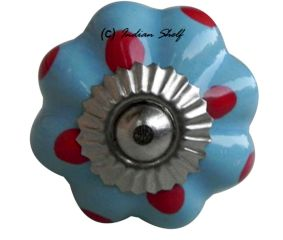 Sky Blue Red Polka Dresser Knob